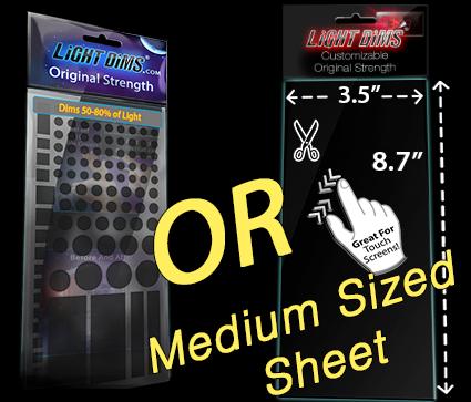 2 LightDims Light Dimming Sheets Customizable Original Strength Edition
